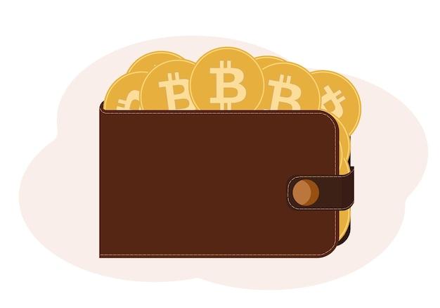 Ilustração vetorial de uma carteira cheia de moedas com a imagem de uma criptomoeda