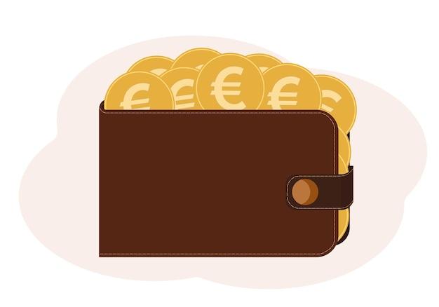 Ilustração vetorial de uma carteira cheia de moedas com a imagem do euro
