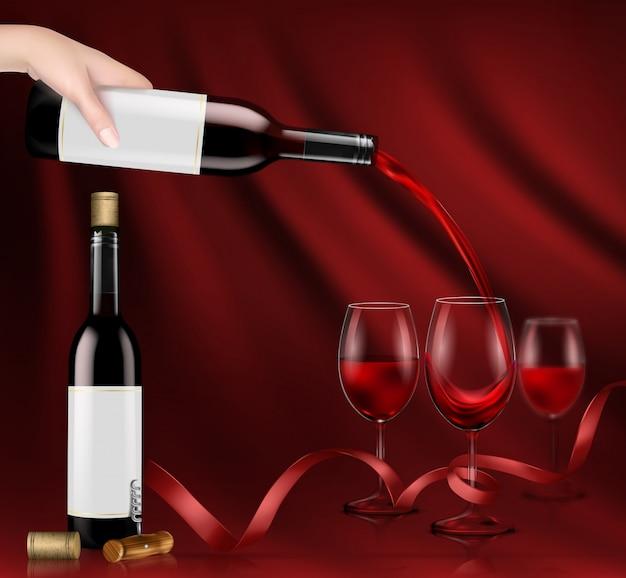 Ilustração vetorial de uma mão segurando uma garrafa de vinho de vidro e derramando vinho tinto em um óculos