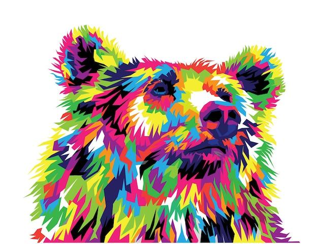 Ilustração vetorial de urso colorido