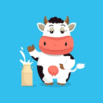 Ilustração vetorial de vaca fofa com recipiente de leite