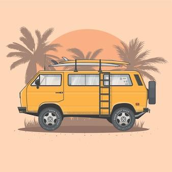 Ilustração vetorial de van de surf de verão