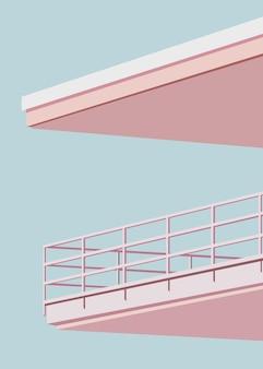 Ilustração vetorial de varanda em um edifício de cores vivas
