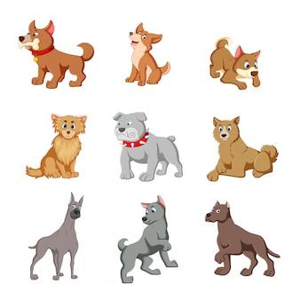 Ilustração vetorial de vários cães fofos