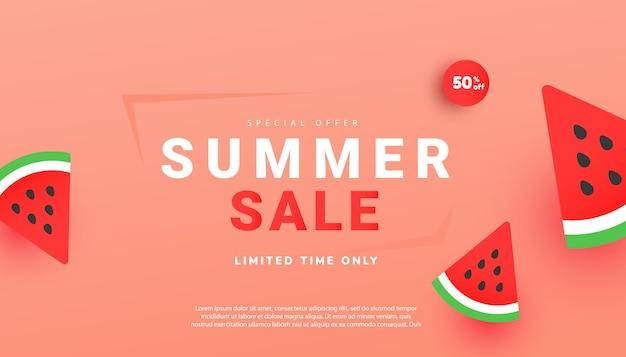 Ilustração vetorial de venda de verão com fatias de melancia madura
