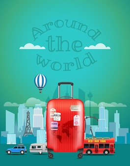 Ilustração vetorial de viagens com a bolsa vermelha