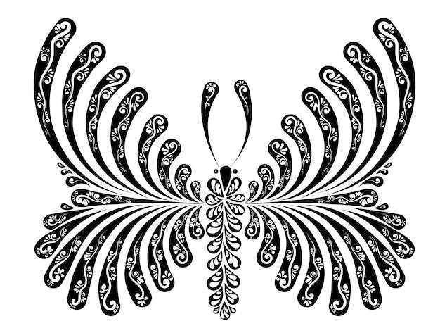 Ilustração vetorial decorativa com orifícios de uma linda borboleta