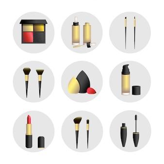 Ilustração vetorial definida com ferramentas de maquiagem