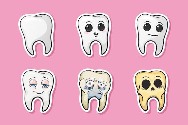 Ilustração vetorial dente humano dente feliz triste dente doente e crânio de dente conjunto de adesivos