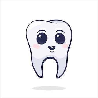 Ilustração vetorial dente humano feliz e sorridente bebê saudável com olhos