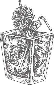 Ilustração vetorial desenhada à mão coquetel mai tai em estilo de desenho