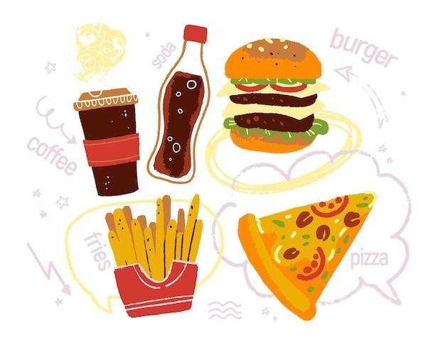 Ilustração vetorial desenhada à mão de fast food