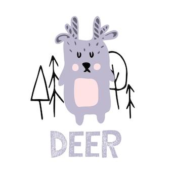 Ilustração vetorial desenhada à mão de um cervo ilustração infantil de um cervo na floresta