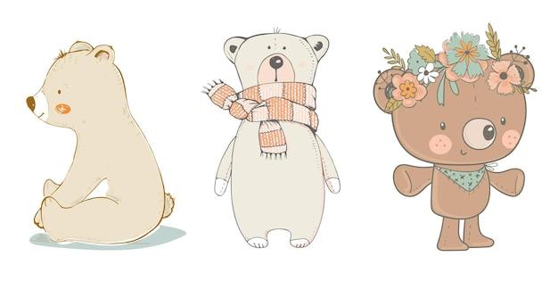 Ilustração vetorial desenhada à mão dos desenhos animados de urso fofo pode ser usada para impressão de camisetas que crianças usam moda
