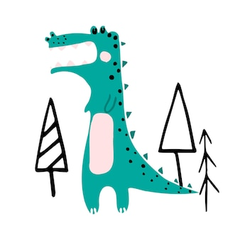 Ilustração vetorial desenhada à mão para crianças de um crocodilo verde fofo