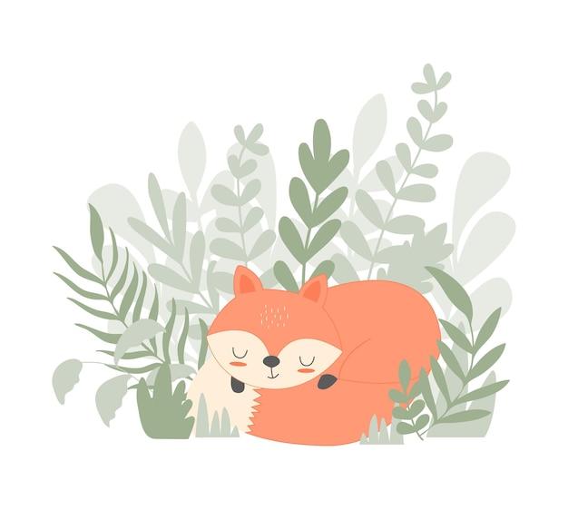 Ilustração vetorial desenhada à mão para crianças imprimir o cartão com a raposa fofa no estilo escandinavo.