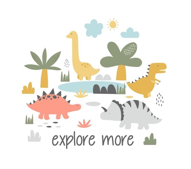 Ilustração vetorial desenhada à mão para crianças imprimir o cartão com as lindas gotas de dinossauros e lette
