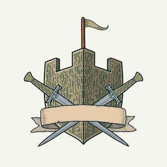 Ilustração vetorial desenhada à mão para escudo brasão de armas de cristas