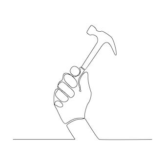Ilustração vetorial desenho de linha contínua de uma mão segurando um martelo de construção