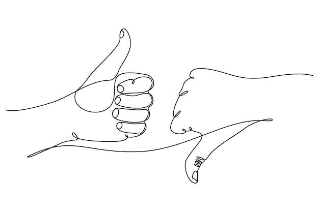 Ilustração vetorial desenho de linhas contínuas polegares para cima polegares para baixo