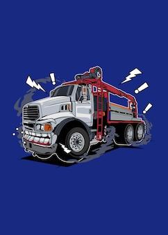 Ilustração vetorial design colorido de alta qualidade do monstro do caminhão branco com um conceito divertido feito a partir do esboço original e digitalizado usando desenho corel