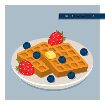 Ilustração vetorial design plano isométrico 3d de waffles de manteiga com morangos e mirtilos na chapa branca.