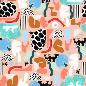Ilustração vetorial divertido e colorido abstrato pincel formas ilustração padrão de repetição perfeita h