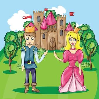 Ilustração vetorial do castelo dos desenhos animados e do príncipe e da princesa