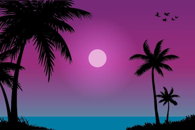Ilustração vetorial do cenário natural da praia e do pôr do sol ao entardecer