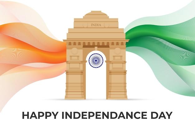 Ilustração vetorial do dia da independência da índia com o portão da índia em delhi