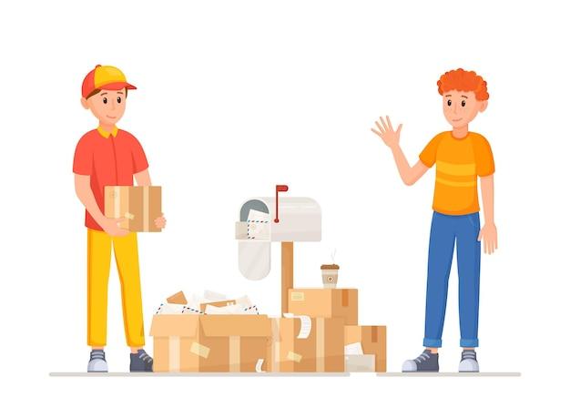 Ilustração vetorial do dia de entrega o cliente veio buscar o pedido no transportador
