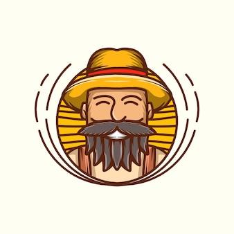 Ilustração vetorial do ícone do logotipo do mascote sorriso do agricultor