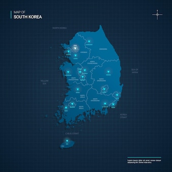 Ilustração vetorial do mapa da coreia do sul com pontos de luz de néon azul