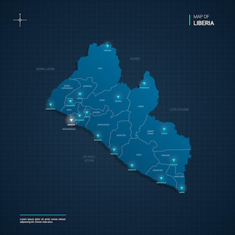 Ilustração vetorial do mapa da libéria com pontos de luz de néon azul
