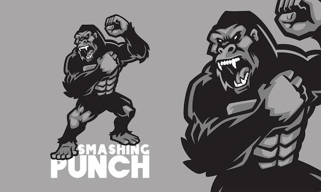 Ilustração vetorial do mascote do logotipo do gorila irritado