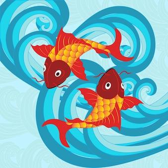 Ilustração vetorial do peixe carpa japonês tradicional