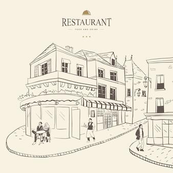 Ilustração vetorial do pequeno café na rua