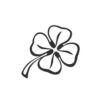 Ilustração vetorial doodle de trevo de quatro folhas desenho à mão doodle quatrefoil da sorte