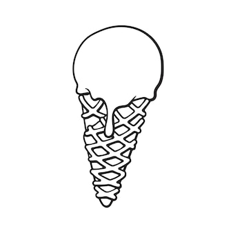 Ilustração vetorial doodle desenhado à mão de bola de sorvete no cone waffle desenho de desenho animado