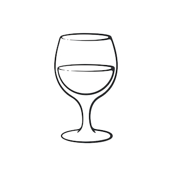 Ilustração vetorial doodle desenhado à mão de um copo com vinho cálice de vidro com bebida alcoólica