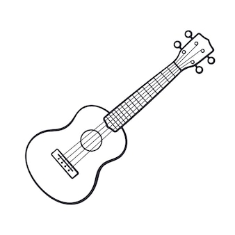 Ilustração vetorial doodle desenhado à mão de violão clássico instrumento musical de cordas dedilhadas