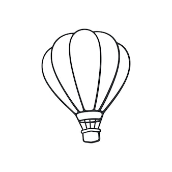 Ilustração vetorial doodle desenhado de balão de ar quente transporte aéreo para viagens desenho de desenho animado
