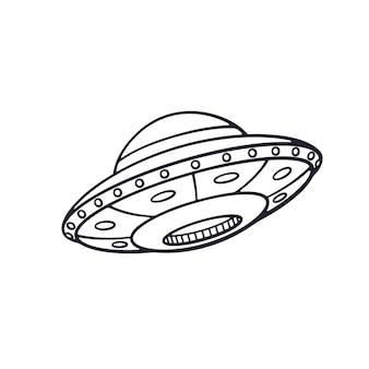 Ilustração vetorial doodle desenhado de brinquedo nave espacial de ovnis desenho de desenho animado nave espacial alienígena
