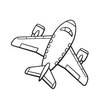 Ilustração vetorial doodle desenhado de mão de avião de brinquedo viagem de transporte de avião