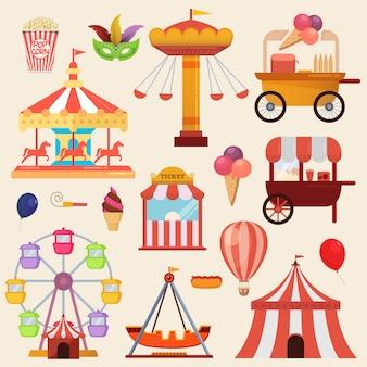 Ilustração vetorial dos elementos de design de parque de diversões de carnaval