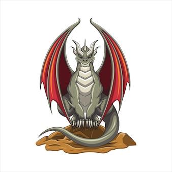 Ilustração vetorial dragão sentado em uma rocha