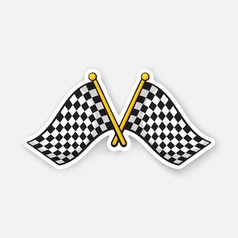 Ilustração vetorial duas bandeiras cruzadas de corrida quadriculada em mastros. adesivo de desenho animado