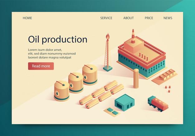 Ilustração vetorial é escrita a produção de petróleo.