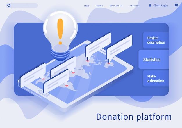 Ilustração vetorial é escrita plataforma de doação.