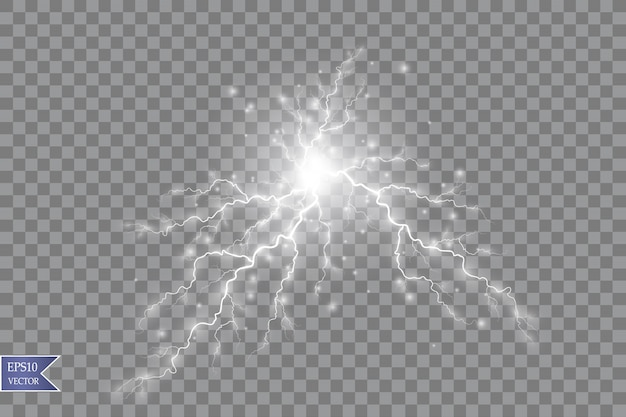 Ilustração vetorial efeito de luz transparente de um raio elétrico de bola. energia mágica do plasma